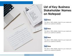 List Of Key Business Stakeholder Names On Notepad