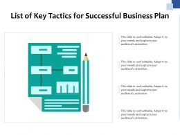 List Of Key Tactics For Successful Business Plan