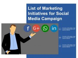 List Of Marketing Initiatives For Social Media Campaign