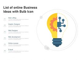 List Of Online Business Ideas With Bulb Icon