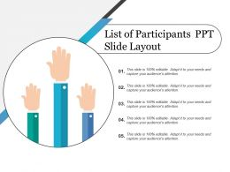 List Of Participants Ppt Slide Layout