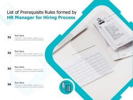 List Of Prerequisite Rules Formed By HR Manager For Hiring Process