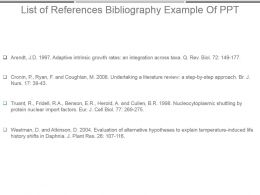 List Of References Bibliography Example Of Ppt