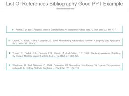 List Of References Bibliography Good Ppt Example