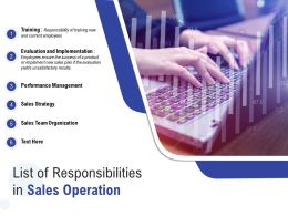 List Of Responsibilities In Sales Operation