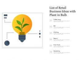 List Of Retail Business Ideas With Plant In Bulb