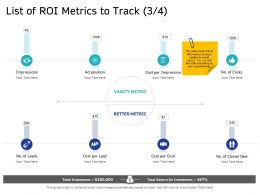 List Of ROI Metrics To Track Deal M2664 Ppt Powerpoint Presentation Inspiration Show