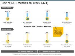 List Of ROI Metrics To Track Influence Ppt Powerpoint Presentation Model Ideas