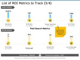 List Of ROI Metrics To Track Leads Ppt Powerpoint Presentation Influencers