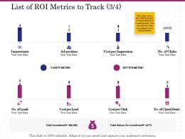List Of ROI Metrics To Track Position Ppt Powerpoint Master Slide
