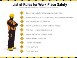 List Of Rules For Work Place Safety