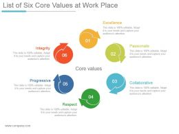 List Of Six Core Values At Work Place Ppt Design