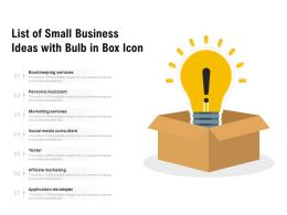 List Of Small Business Ideas With Bulb In Box Icon