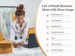 List Of Small Business Ideas With Store Image