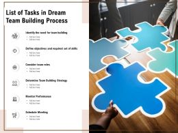 List Of Tasks In Dream Team Building Process