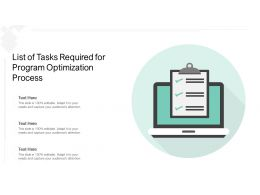 List Of Tasks Required For Program Optimization Process