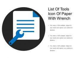 List Of Tools Icon Of Paper With Wrench