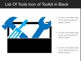 List Of Tools Icon Of Toolkit In Black