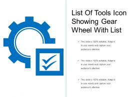 List Of Tools Icon Showing Gear Wheel With List