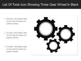 List Of Tools Icon Showing Three Gear Wheel In Black