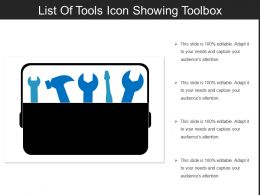 List Of Tools Icon Showing Toolbox
