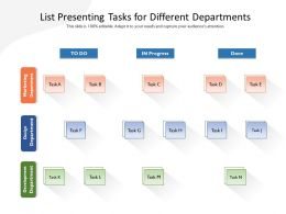 List Presenting Tasks For Different Departments