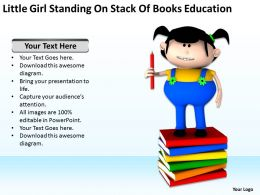 Little Girl Standing On Stack Of Books education Ppt Graphics Icons
