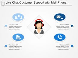 Live Chat Customer Support With Mail Phone And People Image