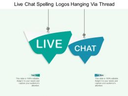 Live Chat Spelling Logos Hanging Via Thread