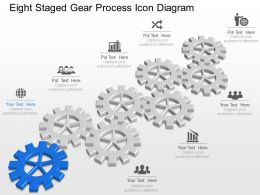 Lj Eight Staged Gear Process Icon Diagram Powerpoint Template Slide
