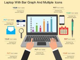 lj Laptop With Bar Graph And Multiple Icons Flat Powerpoint Design