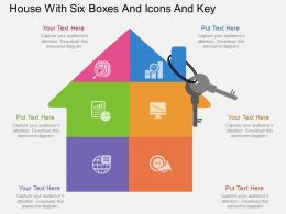 lk House With Six Boxes And Icons And Key Flat Powerpoint Design