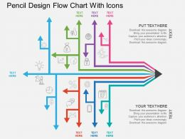lk Pencil Design Flow Chart With Icons Flat Powerpoint Design