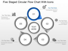 Ll Five Staged Circular Flow Chart With Icons Powerpoint Template Slide