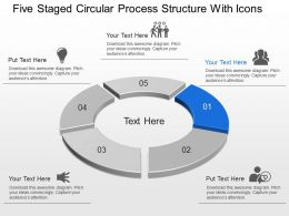 Lm Five Staged Circular Process Structure With Icons Powerpoint Template Slide