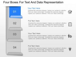 ln Four Boxes For Text And Data Representation Powerpoint Template