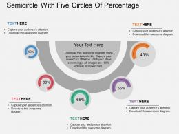 lo Semicircle With Five Circles Of Percentage Flat Powerpoint Design