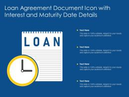 Loan Agreement Document Icon With Interest And Maturity Date Details