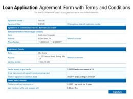 Loan Application Agreement Form With Terms And Conditions
