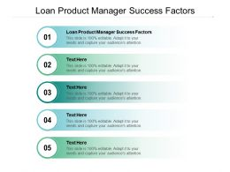 Loan Product Manager Success Factors Ppt Powerpoint Presentation Background Image Cpb