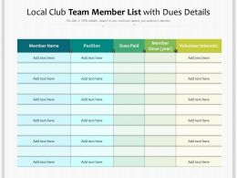 Local Club Team Member List With Dues Details