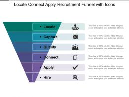 Locate Connect Apply Recruitment Funnel With Icons