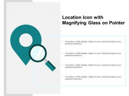 Location Icon With Magnifying Glass On Pointer
