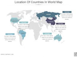 Location Of Countries In World Map Powerpoint Slides
