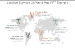 Location Services On World Map Ppt Example