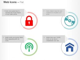 Lock Disc Drive Home Page Wifi Ppt Icons Graphics