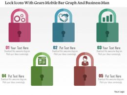 Lock Icons With Gears Mobile Bar Graph And Business Man Flat Powerpoint Design