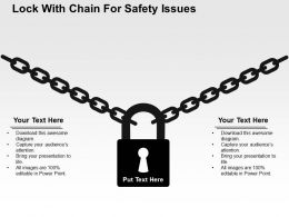 Lock With Chain For Safety Issues Flat Powerpoint Design