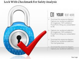 Lock With Checkmark For Safety Analysis Ppt Slides