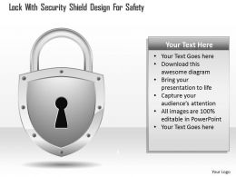 Lock With Security Shield Design For Safety Ppt Slides